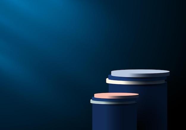 Pedestal de cilindro 3d azul e branco na sala vazia azul escura com fundo de iluminação. você pode usar para apresentação de produtos, cosméticos, sala de estúdio, etc. ilustração vetorial