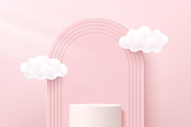 Pedestal de cilindro 3d branco abstrato ou pódio de suporte com pano de fundo de arcos e nuvens voando. cena mínima em rosa pastel para apresentação de exibição de produtos cosméticos. plataforma de renderização geométrica do vetor.
