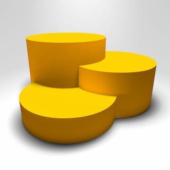 Pedestal de infográfico 3d com colunas coloridas