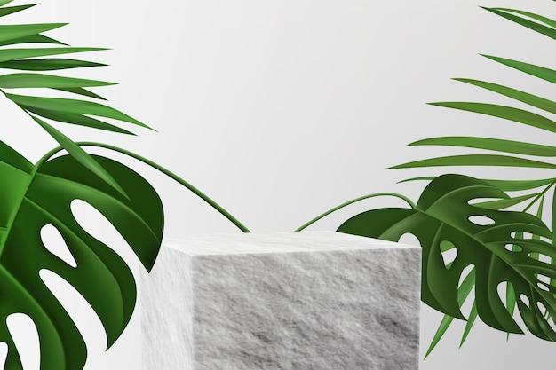 Pedestal de pedra para exposição de produtos com folhas tropicais.