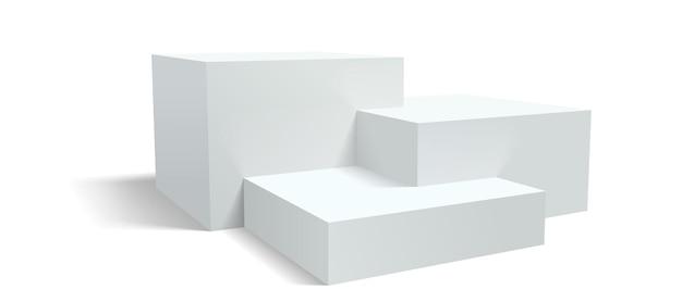 Pedestal de pódio, plataforma de exibição de vetor ou suporte de palco 3d, estrado de prateleiras realista. fundo branco do pódio do estúdio ou pilares da plataforma do pedestal de exibição do produto Vetor Premium