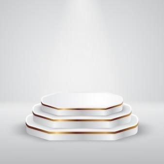 Pedestal de pódio redondo branco e dourado com cena de holofotes com estúdio de cor cinza
