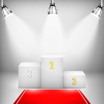 Pedestal de vencedor iluminado com tapete vermelho