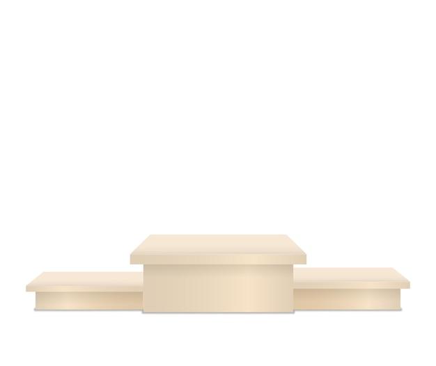 Pedestal e plataforma de suporte de estágio cilíndrico e quadrados vazios quadrados e escadas do pódio d
