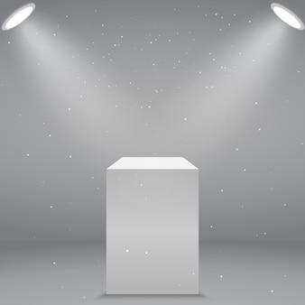 Pedestal ou pódio branco vazio realístico do museu do museu