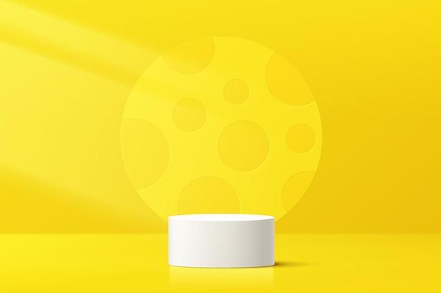 Pedestal ou pódio de cilindro branco 3d abstrato com pano de fundo em forma de círculo amarelo em textura de bolinhas