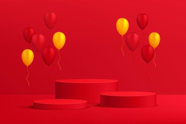 Pedestal ou pódio de cilindro vermelho 3d abstrato com balões vermelhos e amarelos cena de parede vermelho escuro