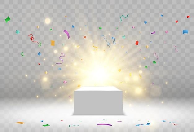 Pedestal para premiar os vencedores. pódio ou plataforma branca com holofotes. ilustração vetorial.