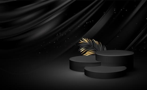 Pedestal preto realista 3d com folhas de palmeira com elementos dourados