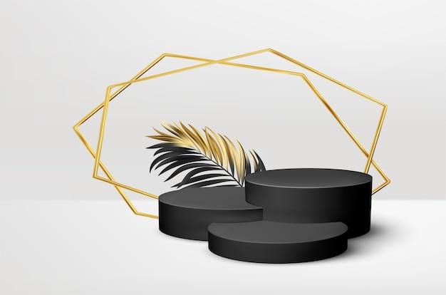 Pedestal preto realista 3d com folhas de palmeira douradas.