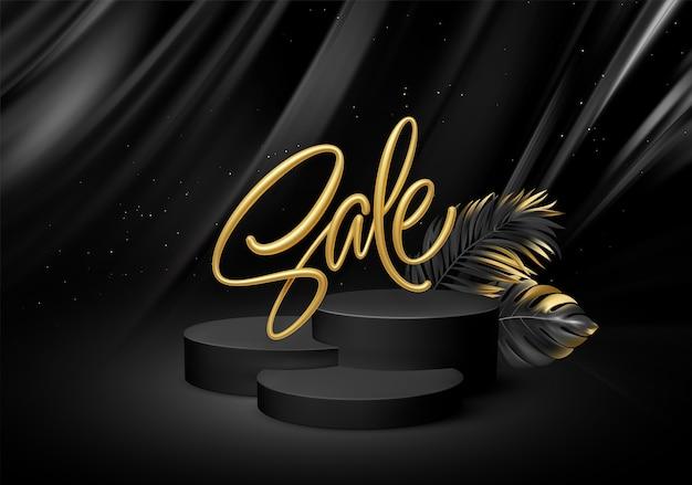 Pedestal preto realista 3d com letras de venda douradas e folhas de palmeira.