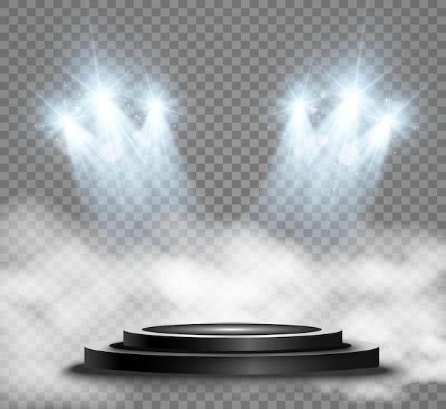 Pedestal redondo de pódio ou plataforma iluminada por holofotes no fundo. ilustração vetorial