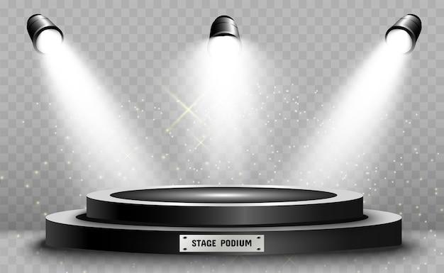Pedestal redondo de pódio ou plataforma iluminada por holofotes