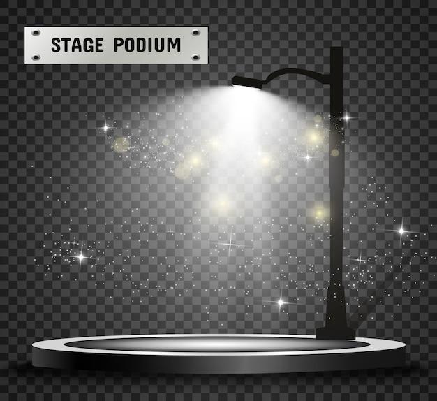 Pedestal redondo de pódio ou plataforma iluminada por poste de luz