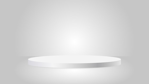 Pedestal redondo de prata em branco circular branco premiado com pódio para excelente exibição de produtos de luxo