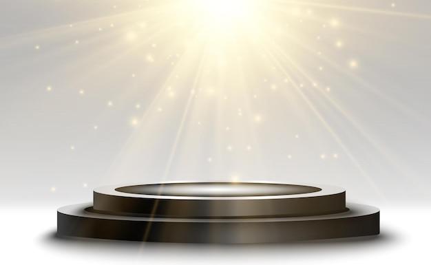 Pedestal redondo e luz brilhante