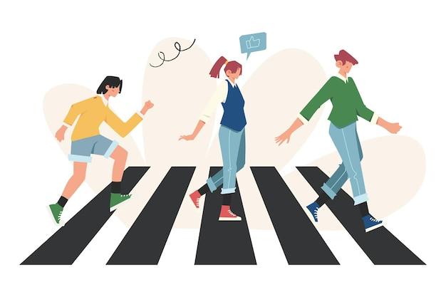 Pedestres correndo em algum lugar para tratar de seus negócios na passagem de peões, multidão