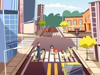 Pedestres, ligado, encruzilhada, de, árabe, muçulmano, mulher mãe, cruzamento rua, com, crianças