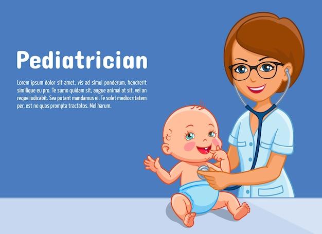 Pediatra e bebê criança para pediatria medicina ou centro de pediatria.