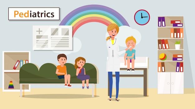 Pediatra measuring boy temperature banner.