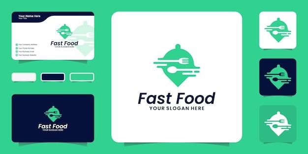 Pedido de comida de restaurante de logotipo de fast food e inspiração de cartão de visita