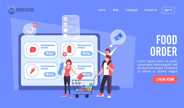 Pedido de comida on-line no design da página de destino