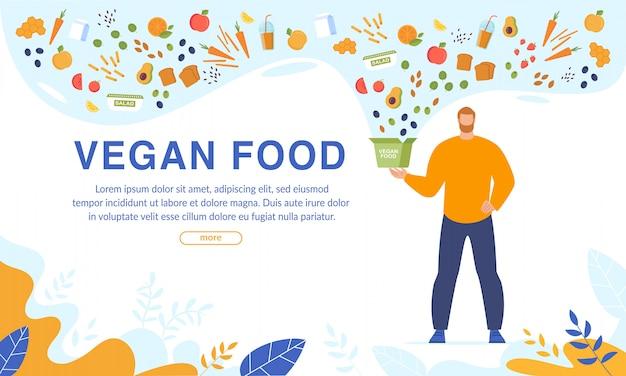 Pedido de comida vegana e serviço on-line de entrega gratuita