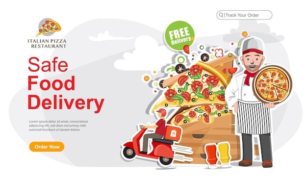 Pedido de entrega segura de comida, serviço de entrega de comida, serviço de entrega de scooter