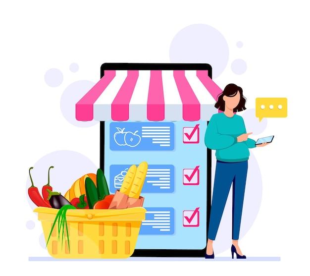 Pedido de produtos online conceito de loja online