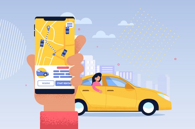 Pedido de serviço online de táxi