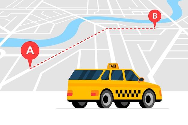 Pedido de táxi e conceito de serviço de navegação de rota a b com geotag com pino de localização gps de chegada