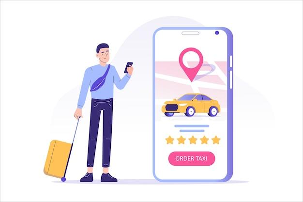 Pedido de táxi online ou aluguel de carro com serviço de aplicativo para smartphone