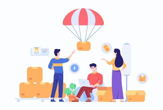Pedido do consumidor e pacote do mercado de comércio eletrônico em casa entregue pela parachute concept