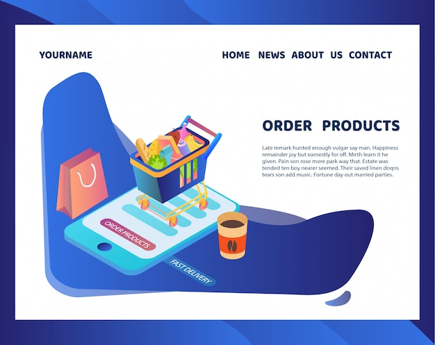 Pedido e entrega de mercadorias usando o aplicativo móvel.