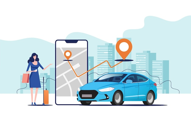 Pedido online de carro de táxi, aluguel e compartilhamento usando o aplicativo móvel do serviço.