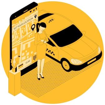 Pedido online de carro de táxi