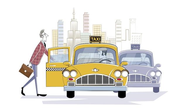 Pedindo carro táxi. homem entra em um carro de táxi retrô na rua de uma cidade grande. empresário correndo para a reunião. ilustração retrô em estilo de desenho.