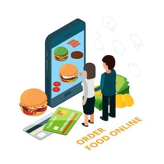 Pedir comida online ilustração vetorial isométrica. homem e mulher escolhem comida com app de telefone. pedido online de fast food, uso móvel, serviço de alimentação em loja