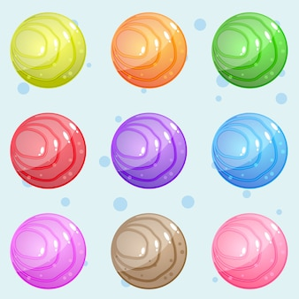 Pedra circular com um padrão de ondas que é brilhante e brilhante para jogos de quebra-cabeça.