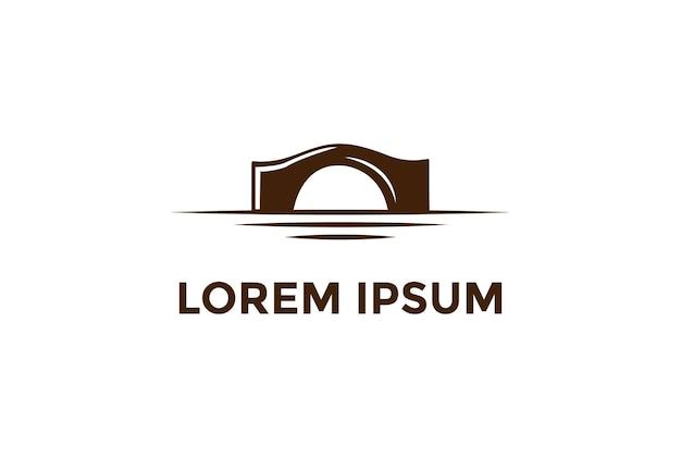Pedra de ponte rústica minimalista simples ou vetor de design de logotipo de via navegável