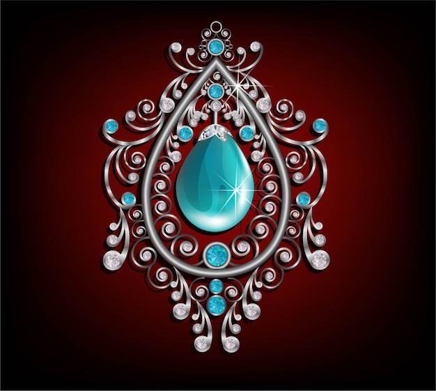 Pedra de turquesa e cor azul jóias