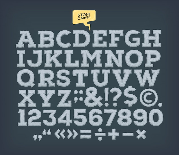 Pedra feita abc. alfabeto esculpido vintage.