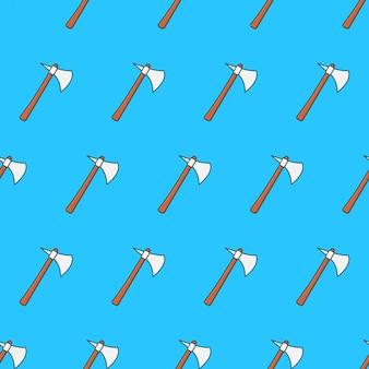 Pedra machado padrão sem emenda em um fundo azul. ilustração em vetor tema machado