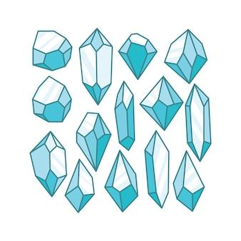 Pedra preciosa de cristal azul-gelo e arte de ilustração de rocha de diamante