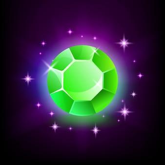 Pedra preciosa esmeralda verde redonda com brilho mágico e estrelas em fundo escuro