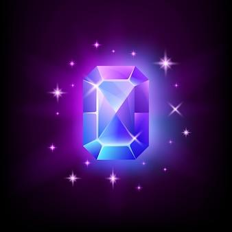 Pedra preciosa retangular azul brilhante com brilho mágico e estrelas em ilustração de fundo escuro