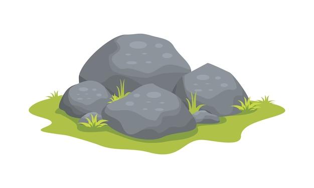 Pedras com grama, ilustração plana dos desenhos animados