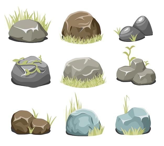 Pedras com grama, pedras e grama verde. rocha da natureza, ilustração ao ar livre, vetor de planta do ambiente. rochas e pedras vetoriais