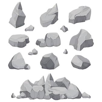 Pedras de pedra. pilha de pedra, carvão e rochas de grafite isolada
