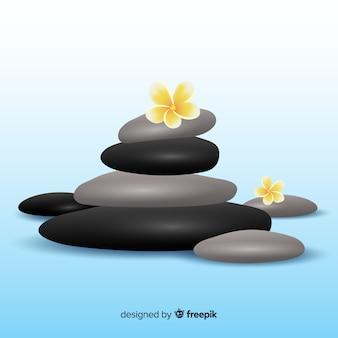 Pedras de spa realista com fundo de flores